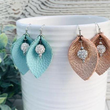 Leather Earrings | Teal Leather Ear..