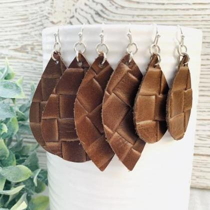 Brown Leather Earrings | Leather Ea..
