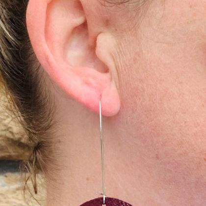 Burgundy Leather Earrings | Leather..