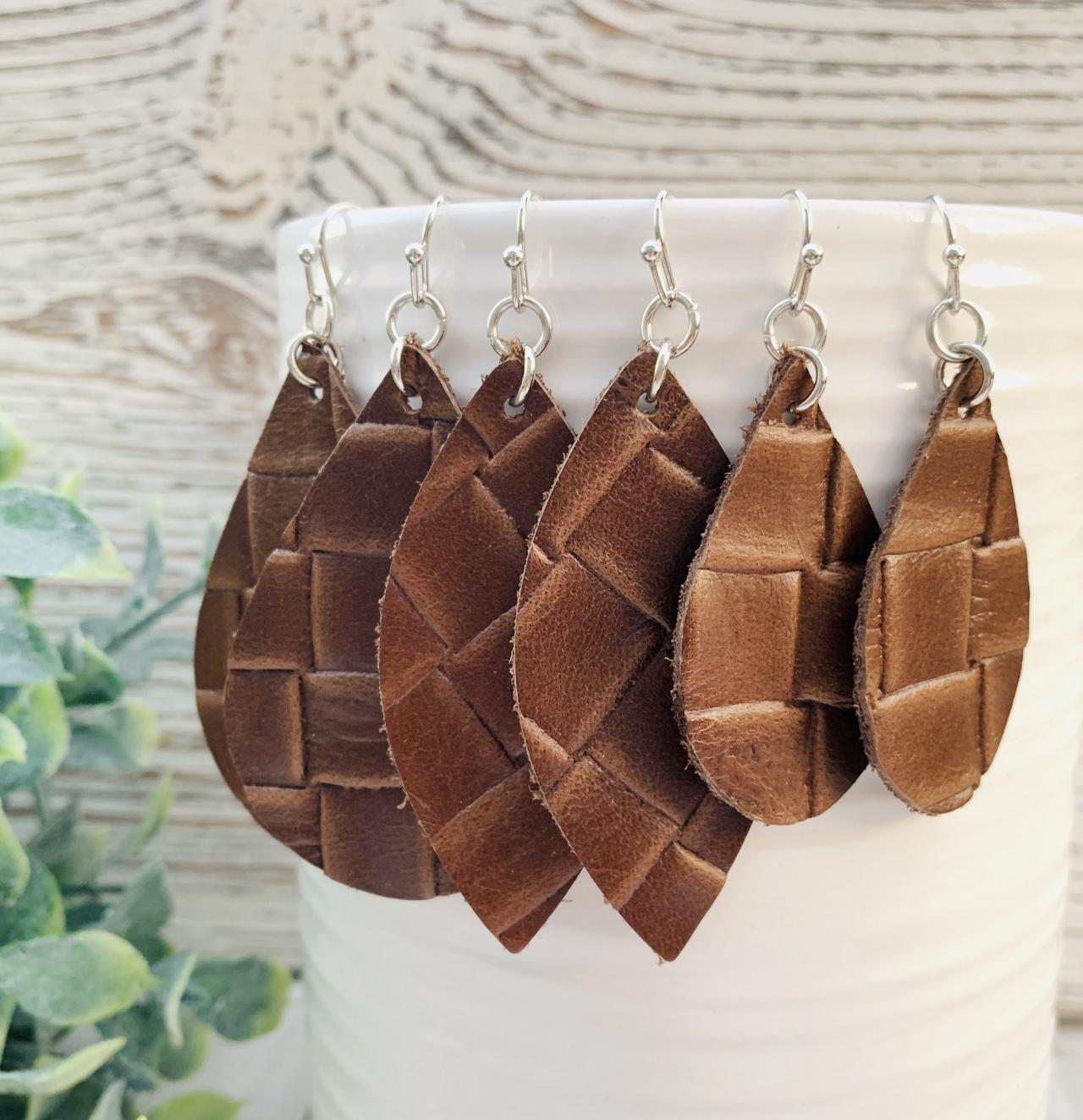 Brown Leather Earrings | Leather Earrings Teardrop |Teardrop Leather Earrings | Genuine Leather