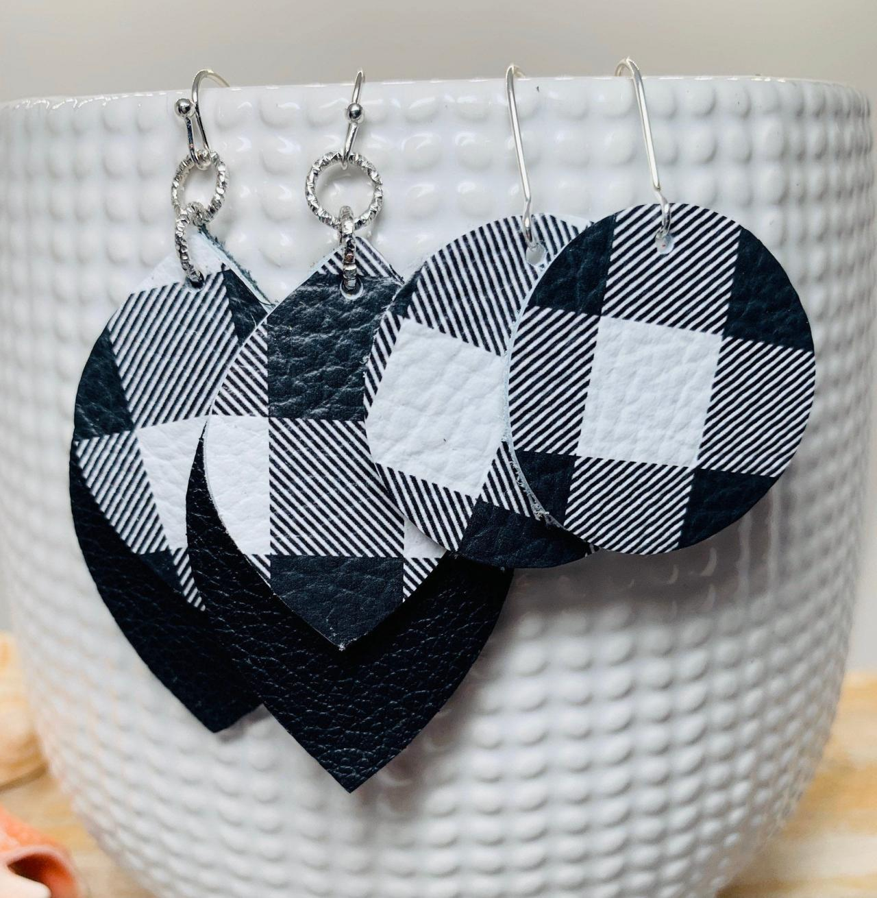 Buffalo Plaid Leather Earrings | Layered Leather Earrings | Black and White Leather Earrings | Genuine Leather