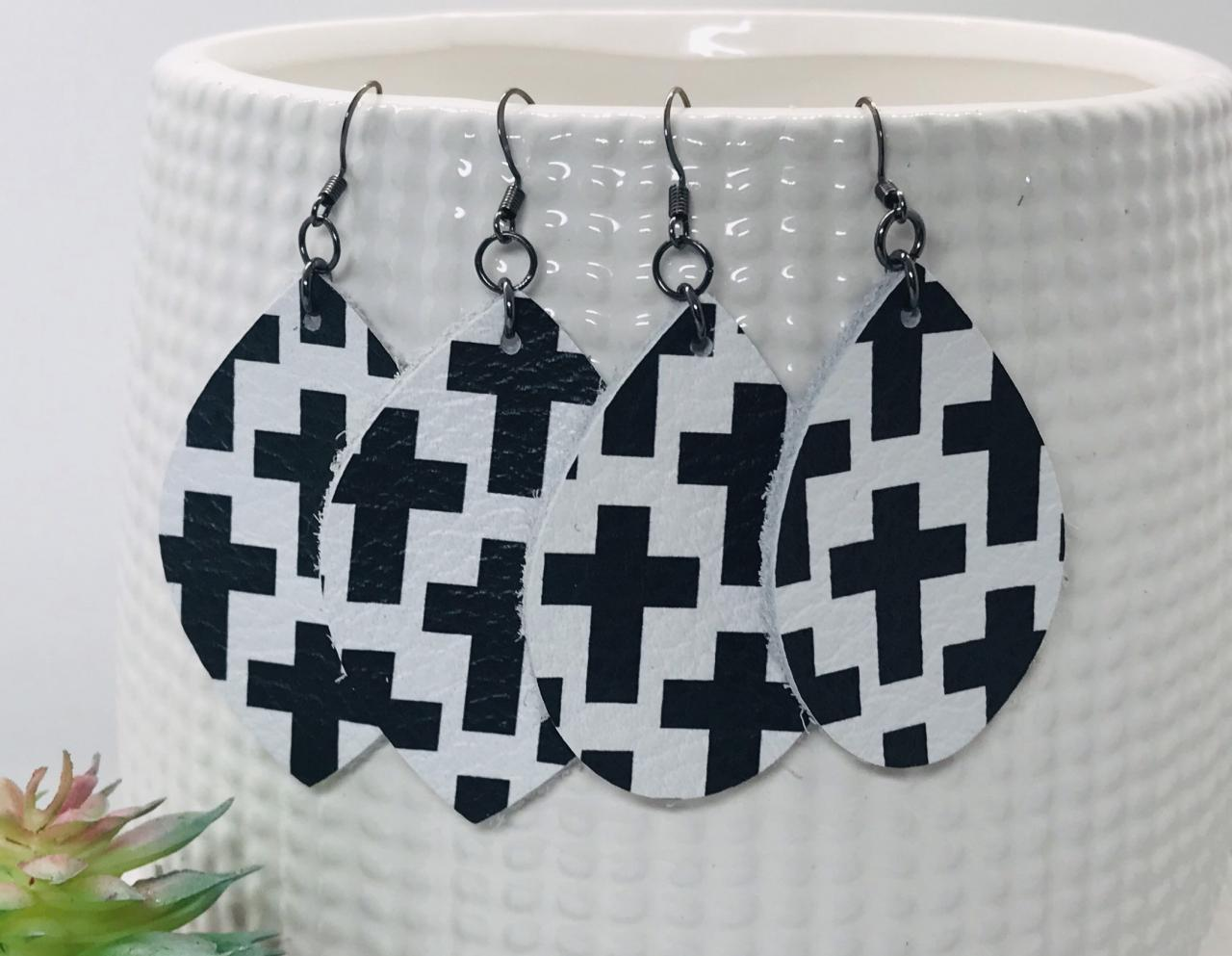 CLEARANCE* Teardrop Leather Earrings | White and Black Cross Earrings | Genuine Leather | Cross Leather Earrings