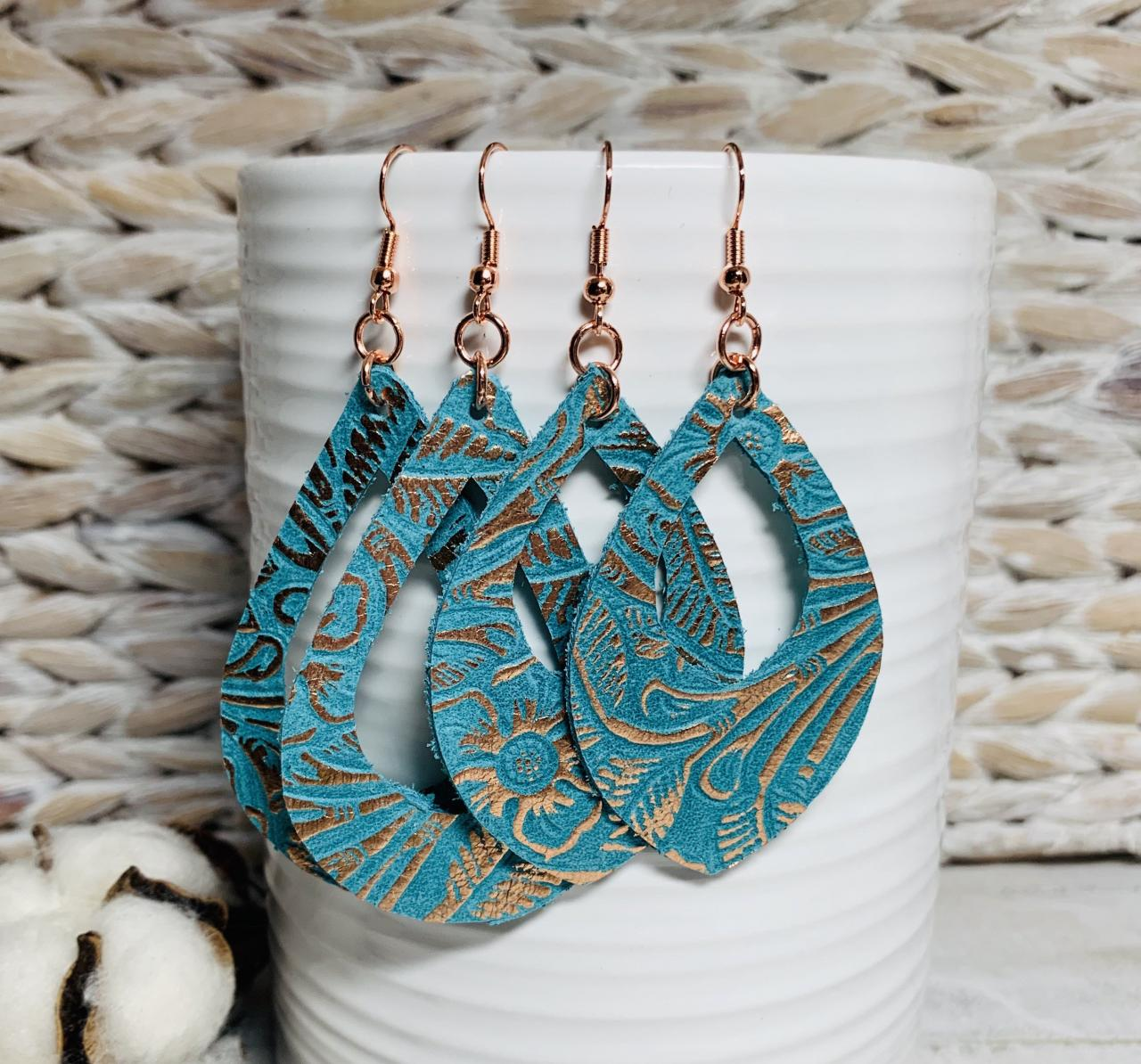 Cute Leather Earrings, Leather Earrings | Leather Earrings Teardrop | Teal Leather Earrings | Western Earrings | Embossed Leather