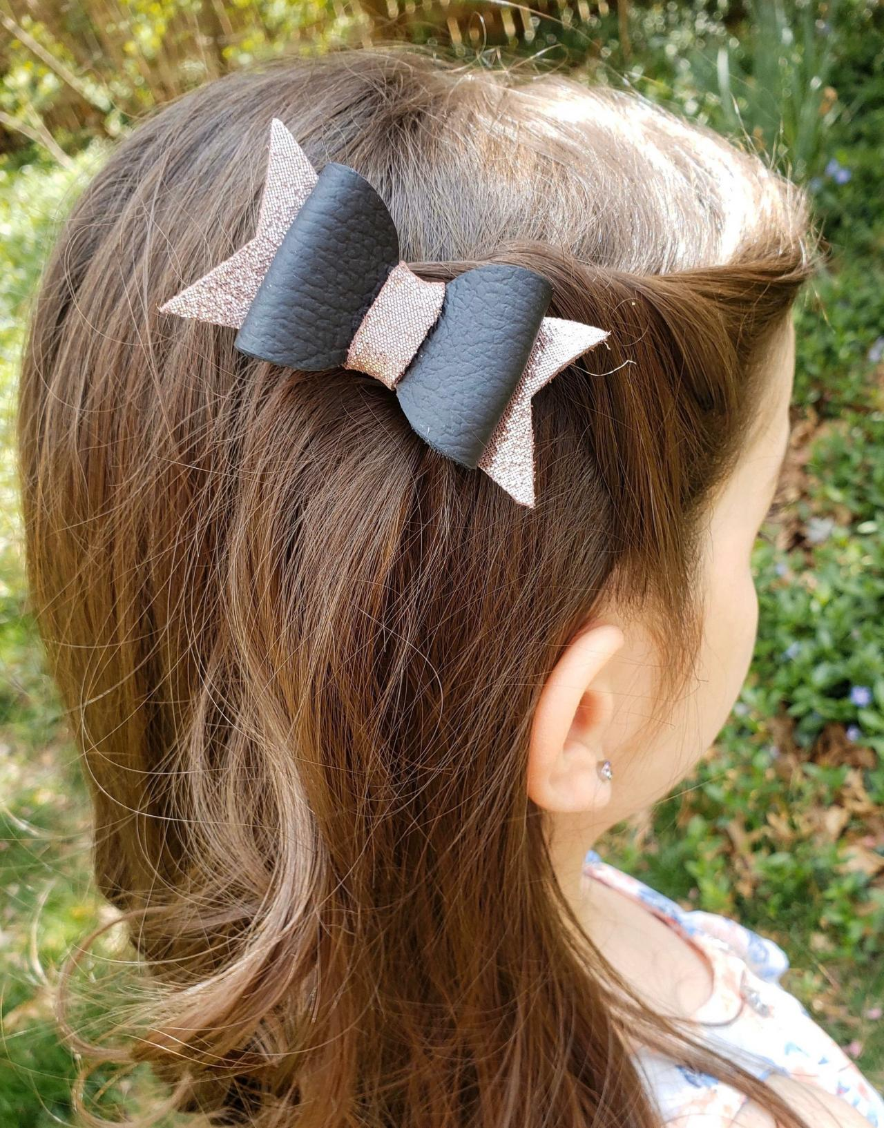 Cute Hair Bow | Leather Hair Bow | Genuine Leather Hair Bow | Toddler Hair Bow | Pigtail Bows | Baby Bow | Leather Hair Clip