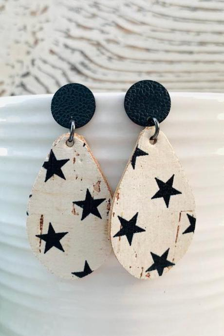 Star Leather Earrings | Small Teardrop Leather Earrings |Cork Leather Earrings | Genuine Leather
