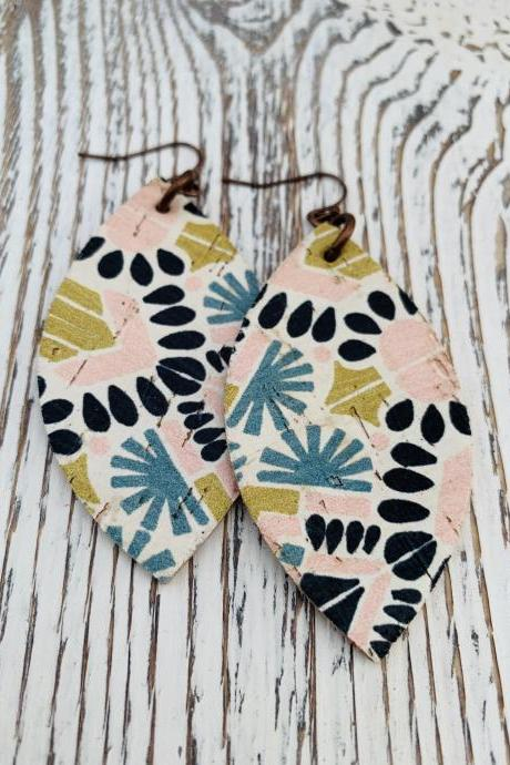 Aztec Leather Earrings | Leaf Leather Earrings | Pastel Leather Earrings | Genuine Leather