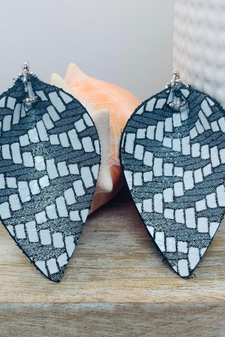 Leather Earrings | Teardrop Leather Earrings | Black and White Leather Earrings | Genuine Leather