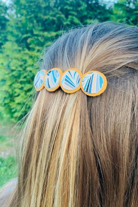 Leather Hair Clip| Hair Accessories| Boho Barrette | Genuine Leather Hair Barrette
