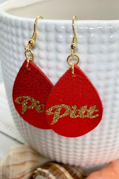 Pittsburg University Earrings | Pitt State Earrings | Gorilla Leather Earrings