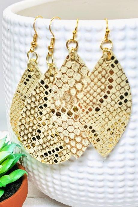 Leather Earrings | Leather Earrings Teardrop | Gold Leather | Snakeskin Leather Earrings | Genuine Leather