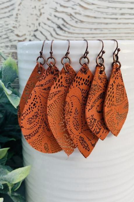 Orange Leather Earrings | Leather Earrings | Metallic Leather Earrings | Teardrop Leather Earrings | Genuine Leather