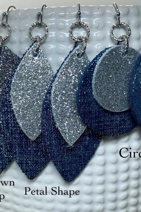 Leather Earrings | Glitter Leather Earrings | Navy Leather Earrings | Genuine Leather