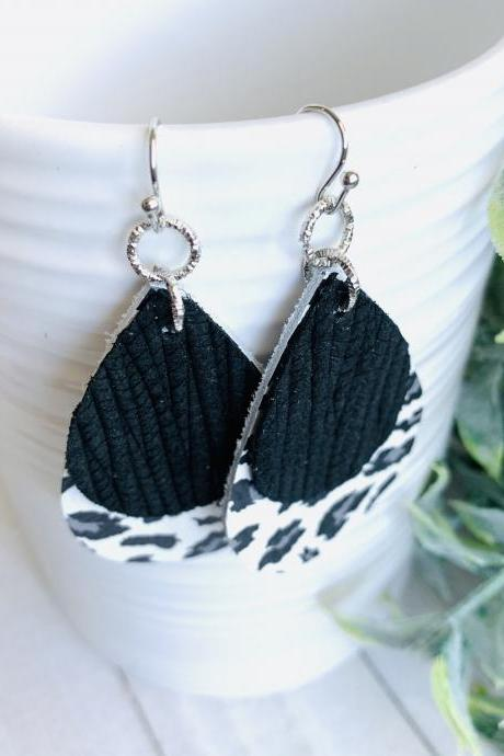 Leopard Leather Earrings | Leopard print Leather Earrings | Black Leather Earrings | Genuine Leather Earrings