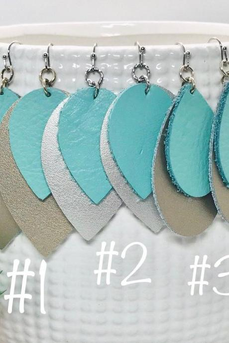 Leather Earrings | Leather Earrings Teardrop | Teal Leather Earrings | Genuine Leather