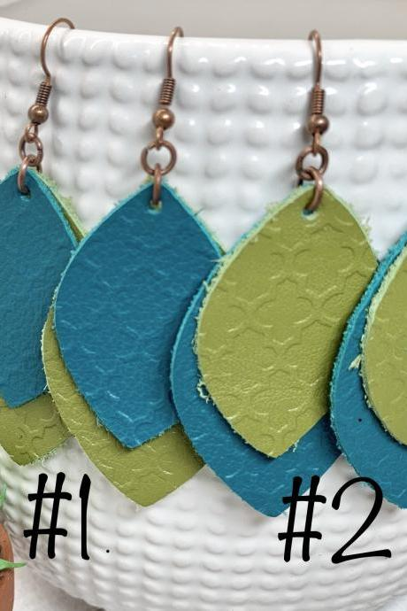 CLEARANCE* Leather Earrings | Embossed Leather Earrings | Teal Leather Earrings | Dangle Earrings | Genuine Leather