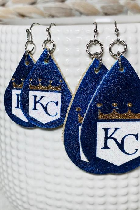 KC Royals Leather Earrings | KC Leather Earrings | Teardrop Earrings | Baseball Leather Earrings | Genuine Leather