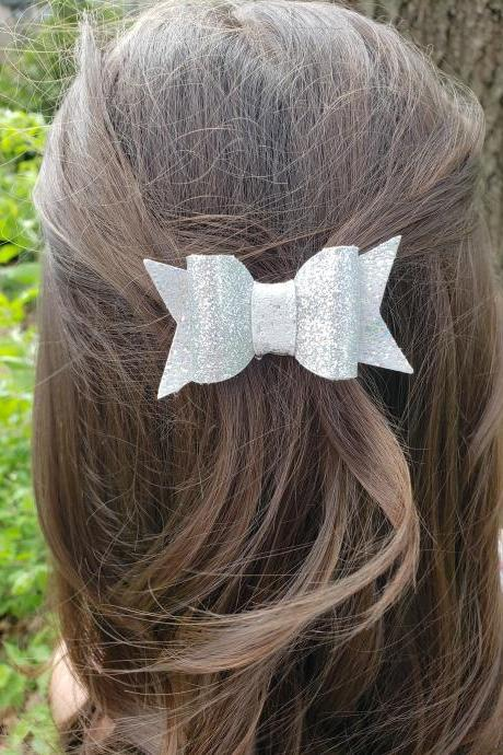 Leather Hair Bow | Genuine Leather Hair Bow | Toddler Hair Bow | Pigtail Bows | Baby Bow | Leather Hair Clip | Free Shipping
