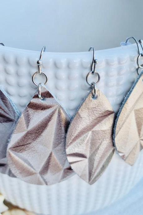 Leather Earrings | Teardrop Leather Earrings | Metallic Leather | Genuine Leather