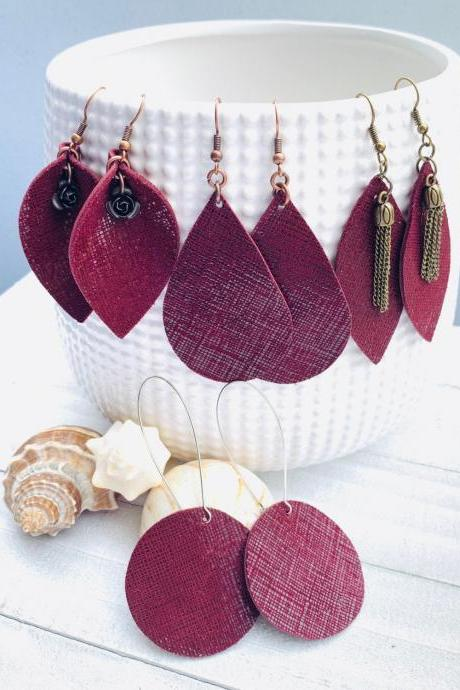 Burgundy Leather Earrings | Leather Earrings Teardrop | Maroon Leather | Genuine Leather