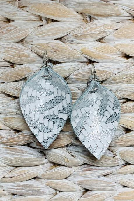Silver Leather Earrings | Teardrop Leather Earrings | Metallic Leather Earrings | Genuine Leather