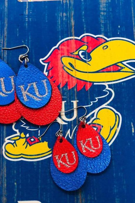 KU Earrings | Kansas Jayhawks Earrings | Jayhawk Earrings | Leather Earrings Teardop - OFFICIALLY LICENSED