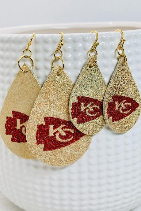 KC Chiefs Leather Earrings| KC Chiefs Earrings | Chiefs Leather Earrings | Chiefs Earrings | Leather Earrings
