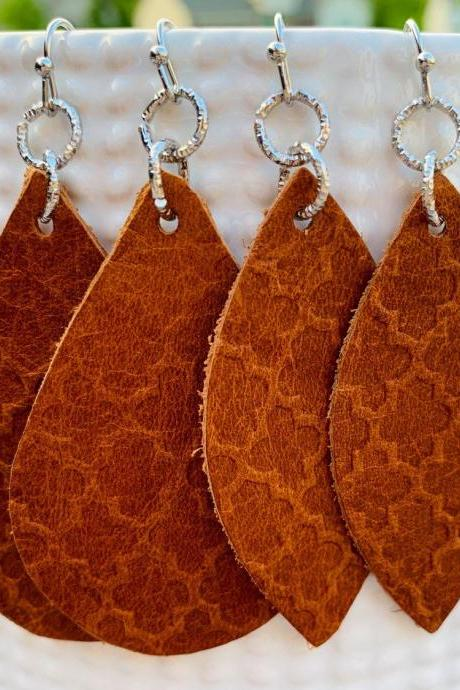 Teardrop Leather Earrings | Embossed Leather Earrings | Genuine Leather | Petal Earrings | Free Shipping