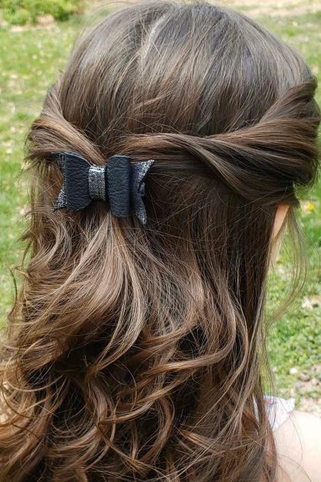 Leather Hair Bows | Genuine Leather Hair Bow | Toddler Hair Bow | Pigtail Bows | Baby Bow | Leather Hair Clip | Free Shipping