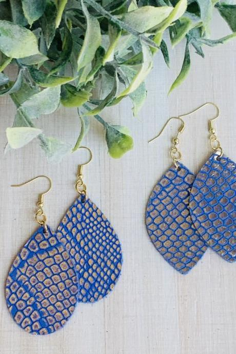 Cute Leather Earrings, Teardrop Leather Earrings | Embossed Leather Earrings | Snakeskin Leather Earrings