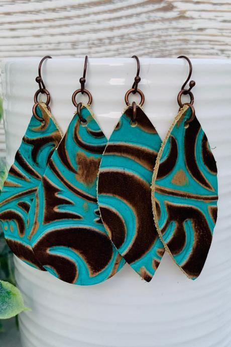 Cute Leather Earrings, Western Leather Earrings, Teardrop Earrings, Teal Leather Earrings