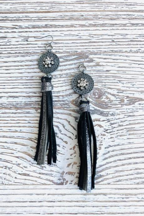 Cute Leather Earrings | Tassel Leather Earrings | Black Tassel Leather Earrings |Black Leather Earrings | Leather Earrings