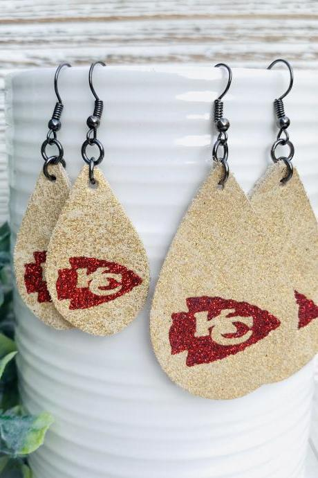 Cute Leather Earrings | KC Chiefs Leather Earrings| KC Chiefs Earrings | Chiefs Leather Earrings | Chiefs Earrings | Leather Earrings