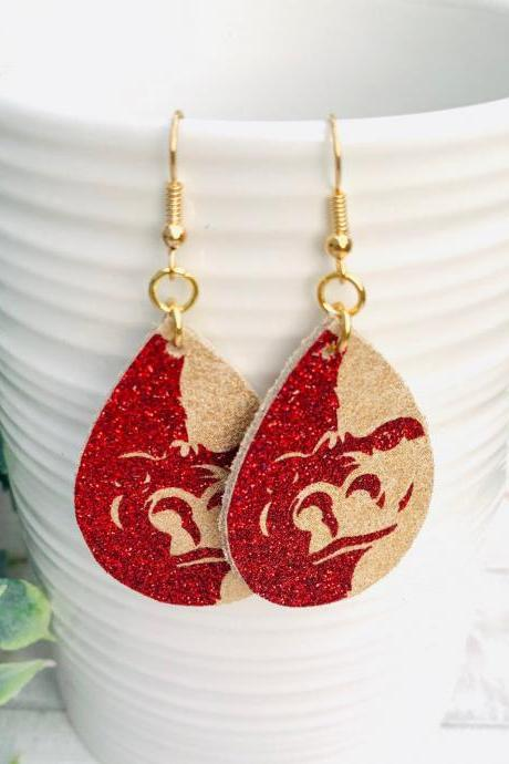 Cute Leather Earrings | Pittsburg University Earrings | Pitt State Earrings | Gorilla Leather Earrings