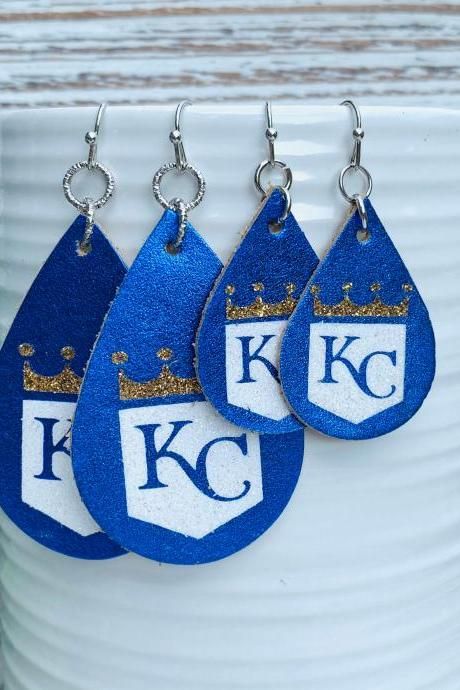 Cute Leather Earrings | KC Royals Leather Earrings | KC Leather Earrings | Teardrop Earrings | Baseball Leather Earrings | Genuine Leather