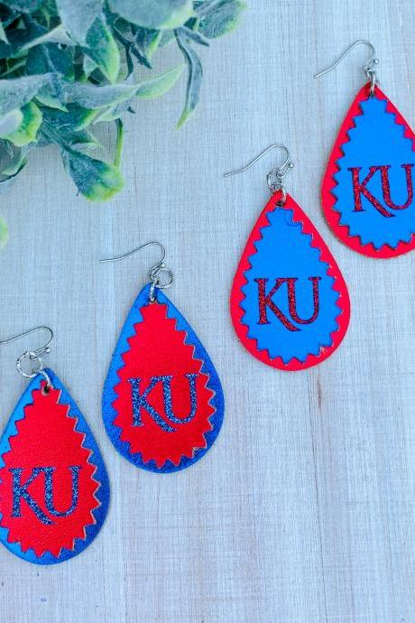 Cute Leather Earrings | KU Earrings | Kansas Jayhawks Earrings | Jayhawk Earrings | - OFFICIALLY LICENSED