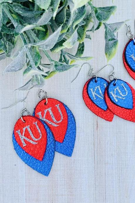 Cute Leather Earrings | KU Earrings | Kansas Jayhawks Earrings | Jayhawk Earrings | Leather Earrings Teardop - OFFICIALLY LICENSED