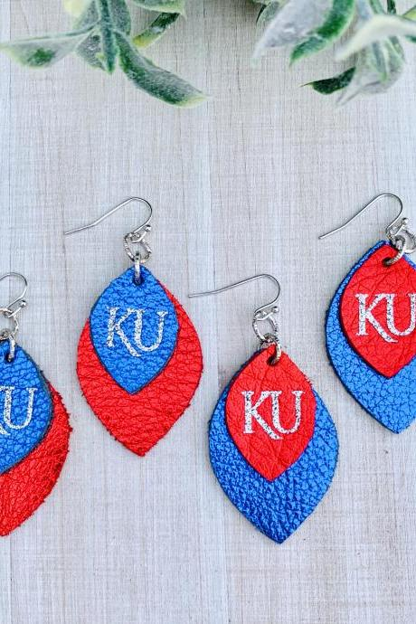 Cute Leather Earrings,KU Earrings | Kansas Jayhawks Earrings | Jayhawk Earrings | - OFFICIALLY LICENSED