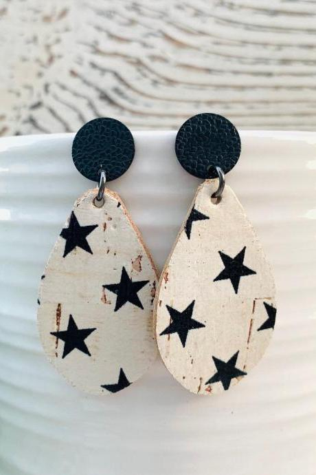 Cute Leather Earrings,Star Leather Earrings | Small Teardrop Leather Earrings |Cork Leather Earrings | Genuine Leather