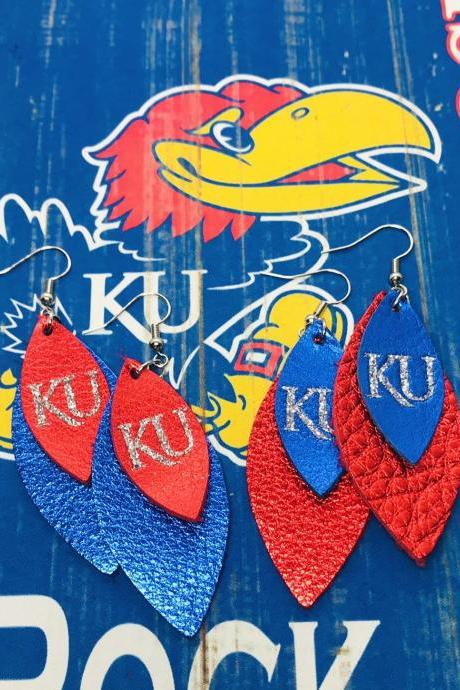 Cute Leather Earrings,KU Earrings | KU Leather Earrings | Jayhawk Earrings | Genuine Leather | Metallic Leather Earrings
