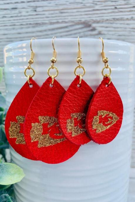 Cute Leather Earrings,KC Chiefs Earrings | Chiefs Leather Earrings | Chiefs Earrings | Leather Earrings