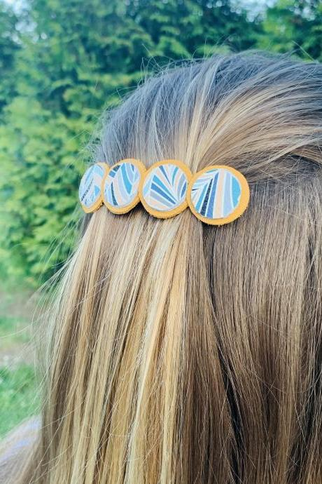 Cute Hair Clip | Leather Hair Clip| Hair Accessories| Boho Barrette | Genuine Leather Hair Barrette
