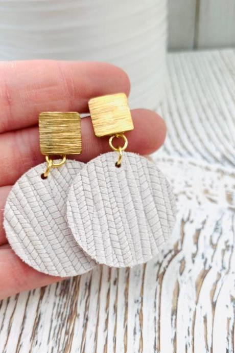 Cute Leather Earrings, Ivory Leather Earrings | Circle Leather Earrings | Embossed Leather Earrings | Genuine Leather