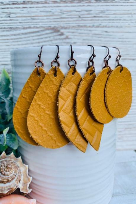 Cute Leather Earrings, Mustard Leather Earrings | Boho Leather Earrings | Leather Boho Earrings | Genuine Leather Earrings