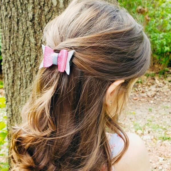 Cute Hair Bow | Leather Hair Bows | Genuine Leather Hair Bow | Toddler Hair Bow | Pigtail Bows | Baby Bow | Leather Hair Clip