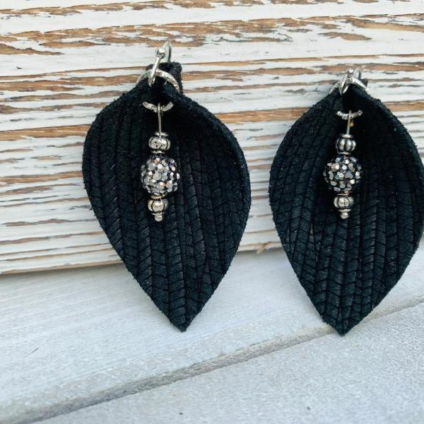 Cute Leather Earrings, Leather Earrings | Pinched Leather Earrings | Black Leather Earrings | Black Leather